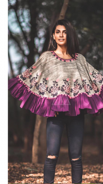 Grey & Purple Poncho